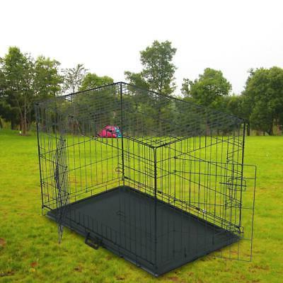 """36"""" Door w/Divide Metal Pet Cage House Black"""