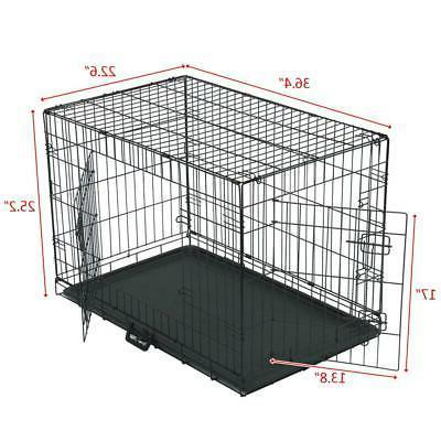 "36"" Dog Crate Door w/Divide Tray/1 Metal Pet Kennel House Black"