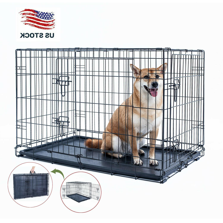 36 dog crate kennel folding metal black