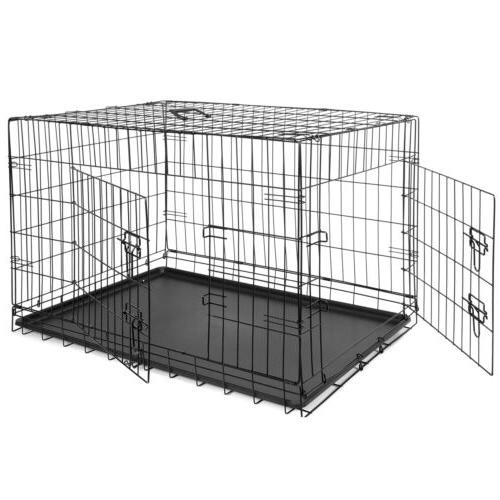 """36"""" Dog Crate Folding Pet 2 Pan Black"""