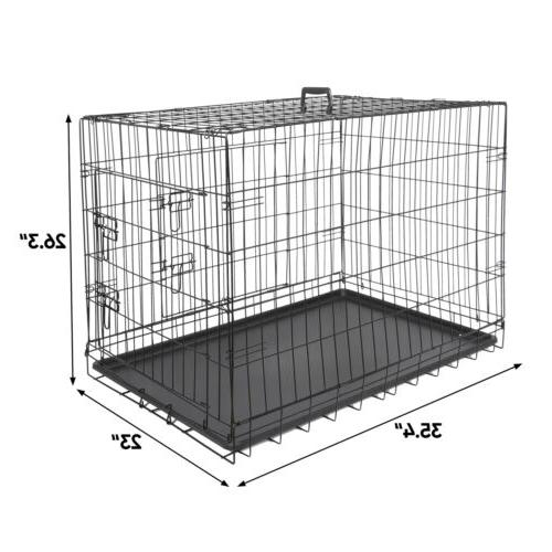 "36"" Dog Crate Folding Metal Cage 2 Pan"