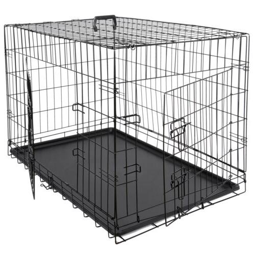 "36"" High Quality Dog Crate Kennel Folding Pet Cage 2 Door Wi"