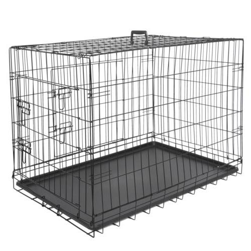 """36"""" High Quality Dog Crate Kennel Folding Pet Cage 2 Door Wi"""