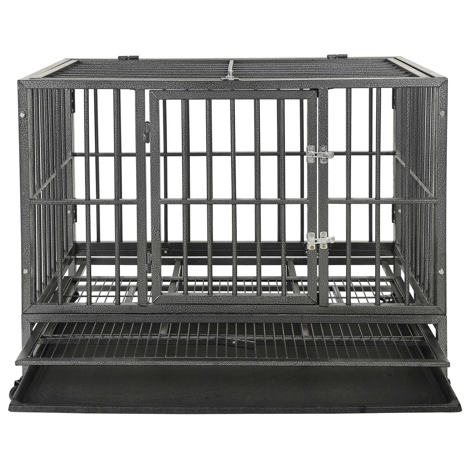 """36""""Portable Duty Dog Cage Crate Kennel Pet Wheel"""