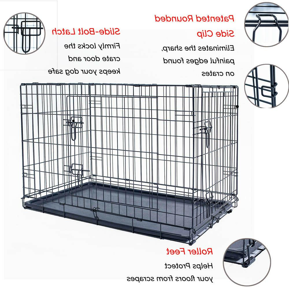 "42"" Folding Metal Cage 2 Door Black"