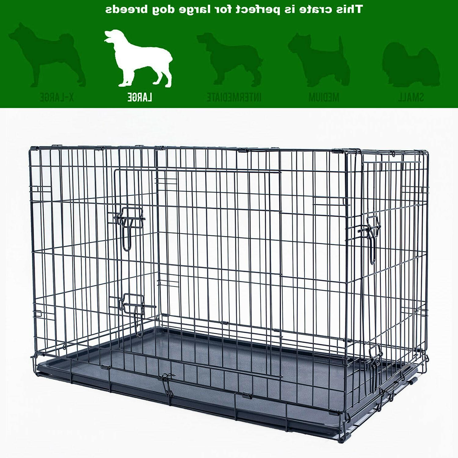 "42"" Crate Kennel Folding Metal 2 With Tray Black"