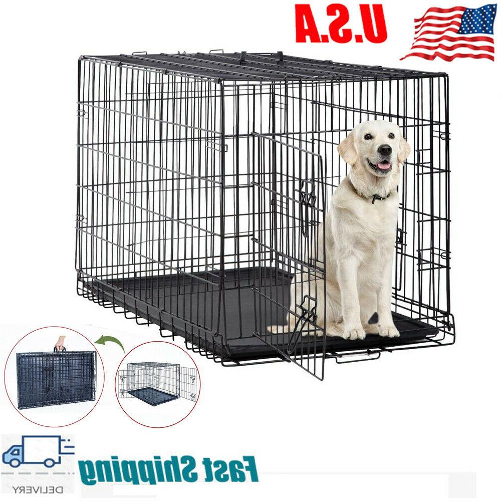 42 dog crate kennel folding metal pet