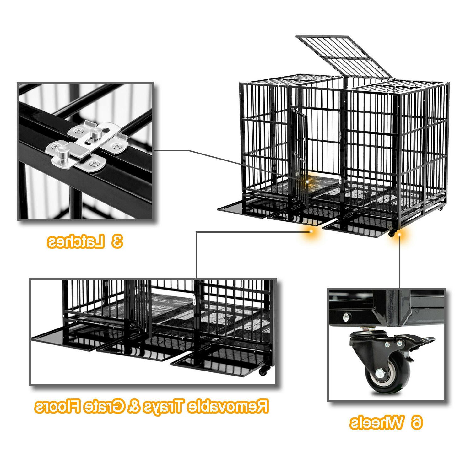63'' Dog Crate Cage Large Square Duty w/Wheels & Tray