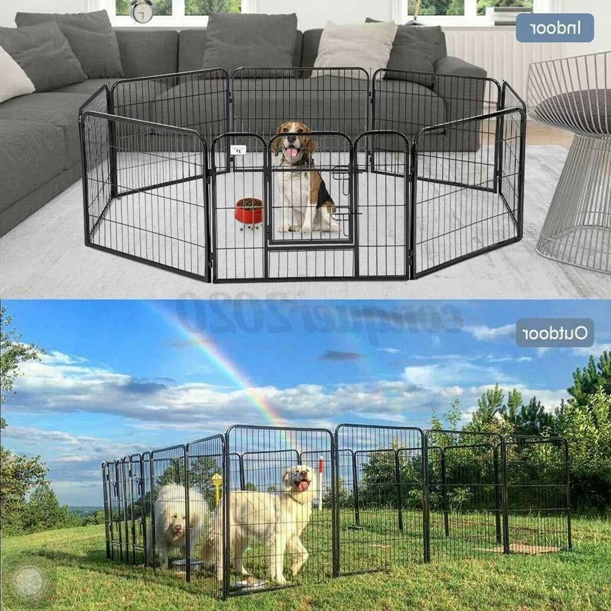8 Heavy Duty Metal Cage Crate Dog Exercise Kennel
