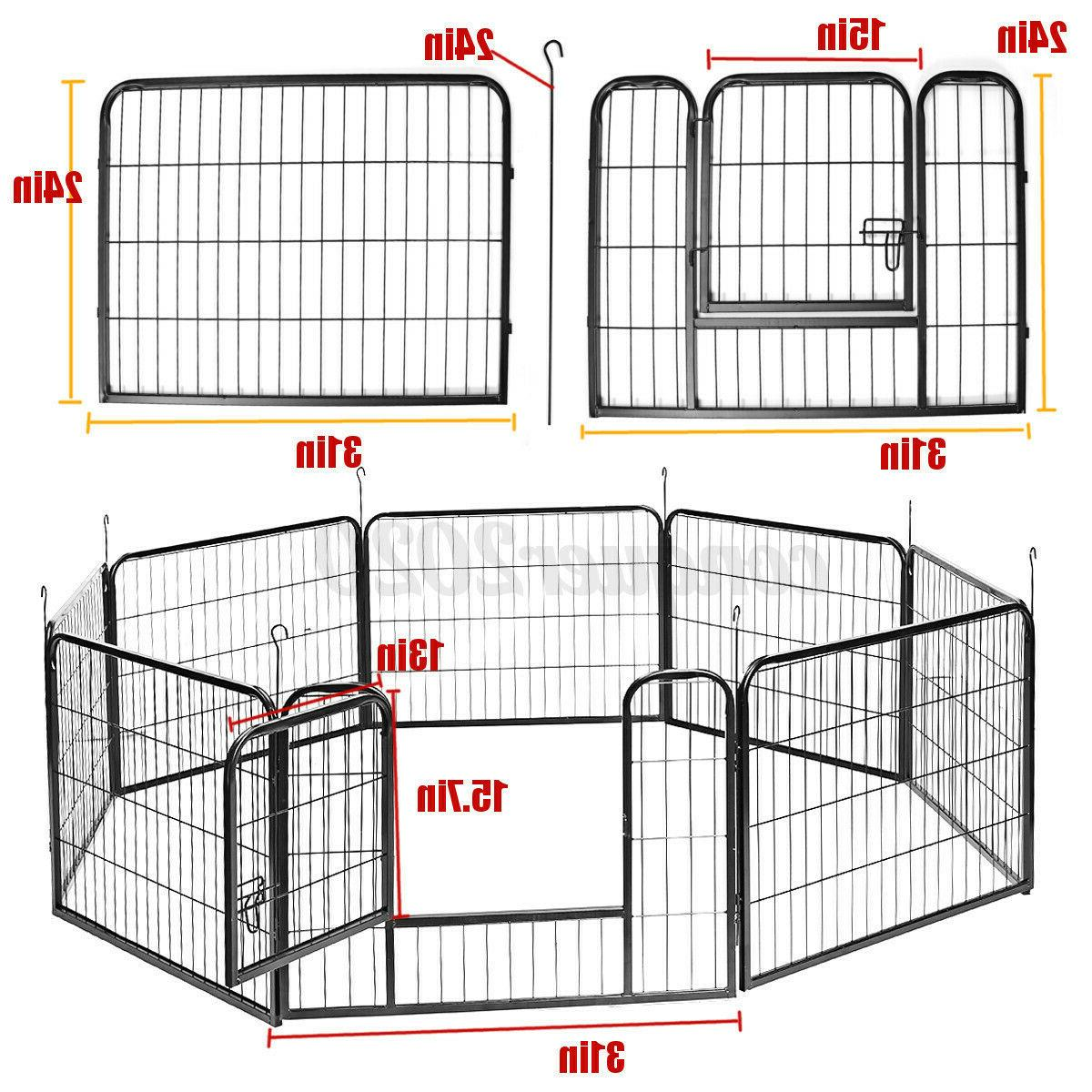 8 Panel Duty Metal Cage Crate Pet Dog Exercise Kennel