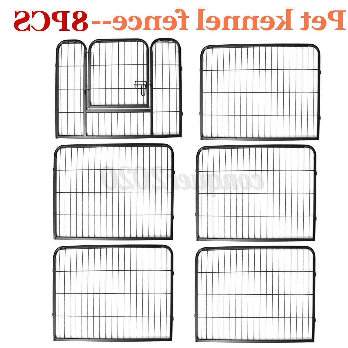 8 Panel Metal Cage Crate Dog Exercise Fence Kennel