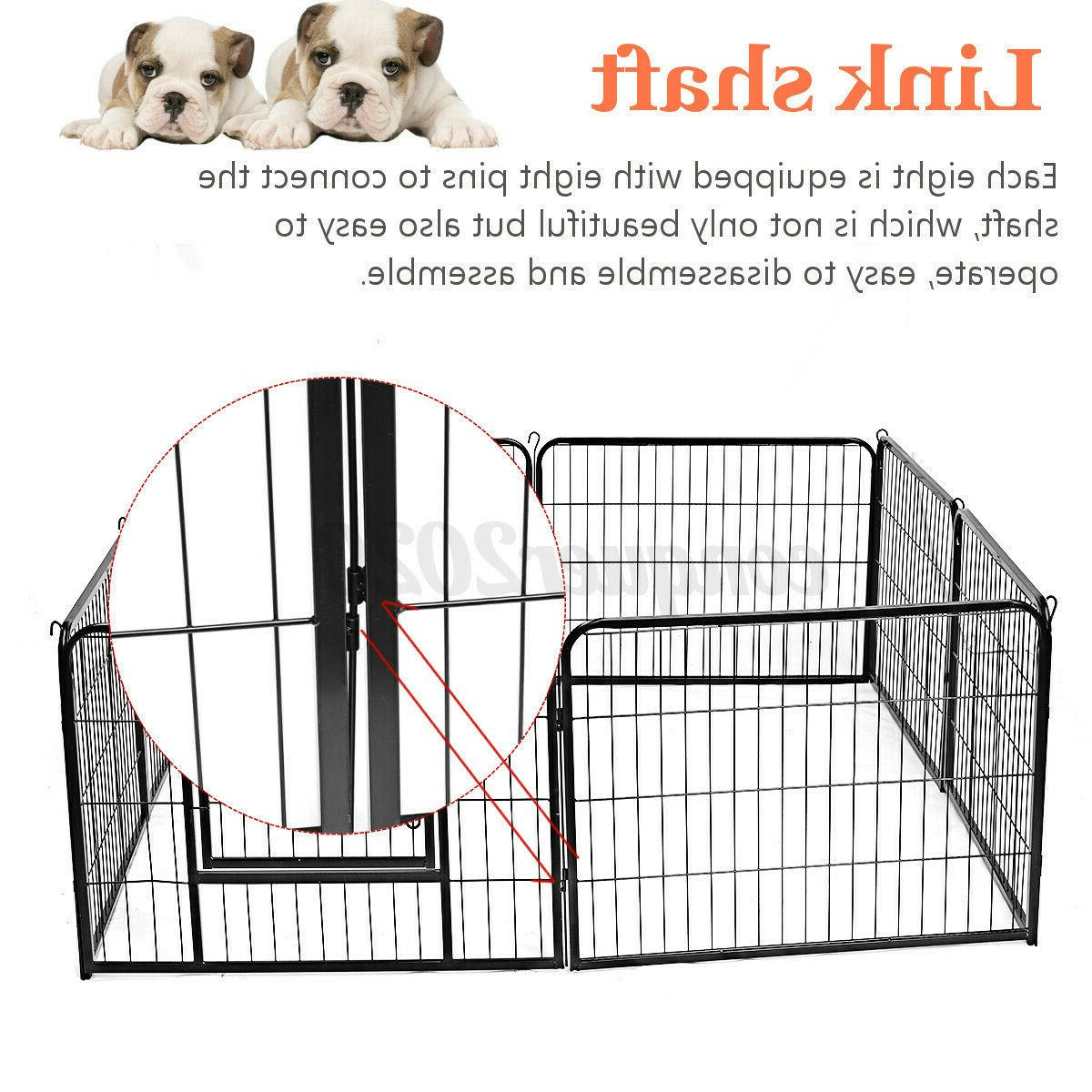 8 Panel Heavy Metal Pet Dog Exercise Fence Kennel