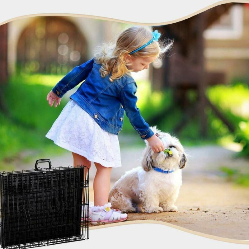 BestPet Black Door Folding Dog w/Divider Cage w/
