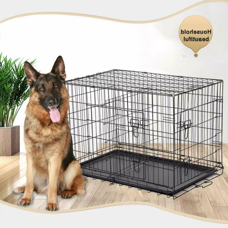 black 48 2 door pet cage folding