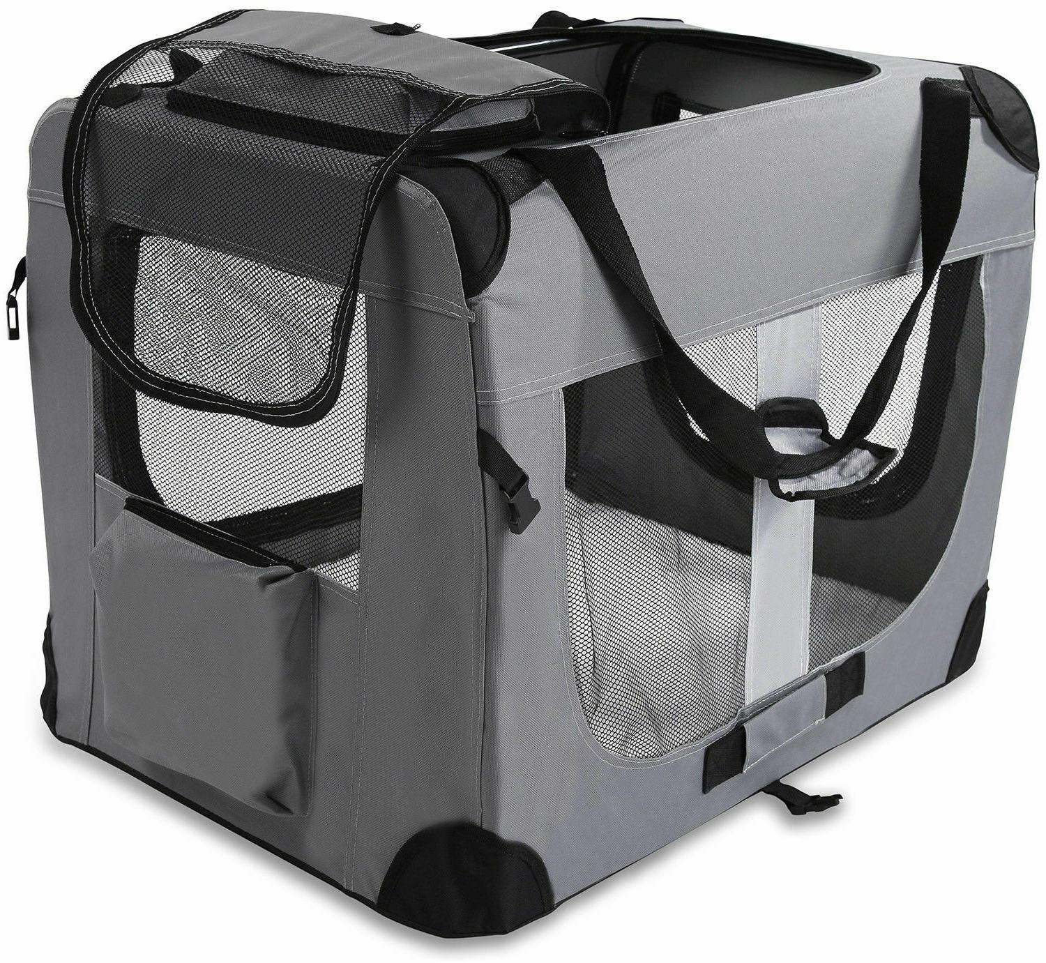 Dog Crate Soft Sided Pet Carrier Foldable Kennel Portable Cage