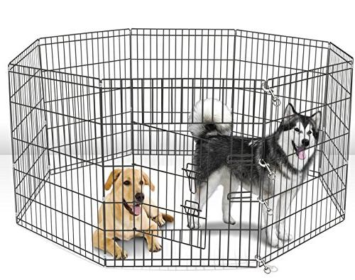 Dog Pet Playpens for Large - Puppy Playpen Back Yard Fence Cage Fencing Fences with 36 Metal 8-Panel
