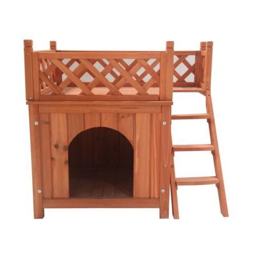 ALEKO Cedar Pet Home Luxurious Side Steps Balcony Lounger