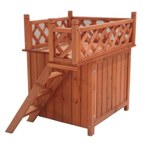 ALEKO Dog Kennel Cedar Pet Luxurious Steps Balcony 28X20X25In