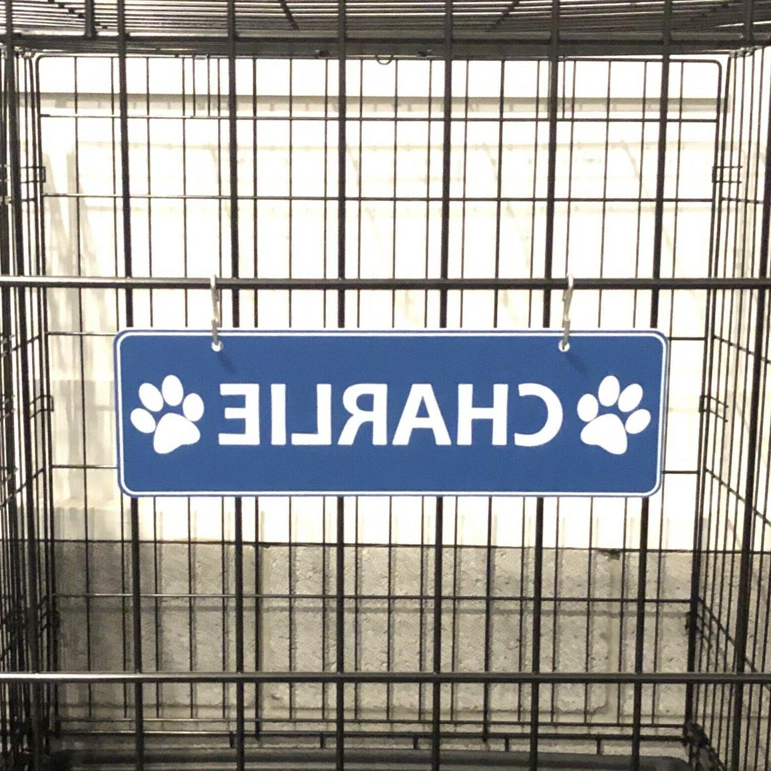dog paw name plate kennel crate pet
