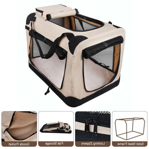 Soft Dog Crate Kennel, JESPET 3 Door Soft Sided Folding Trav