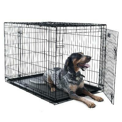 double door folding dog crate cage large