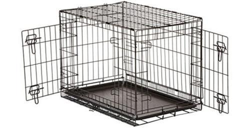 doubledoor folding metal dog crate