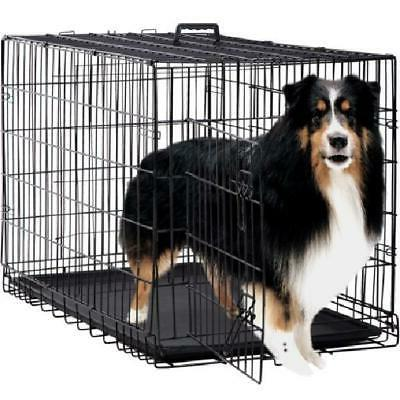 Durable Steel 2 Door Pet Dog Cage Kennel Folding Wire Crate