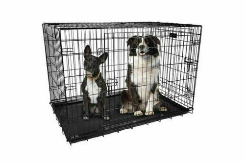 "Extra Large Kennel Crate 48"" Folding Cage Metal 2 Doors Tray Pan"