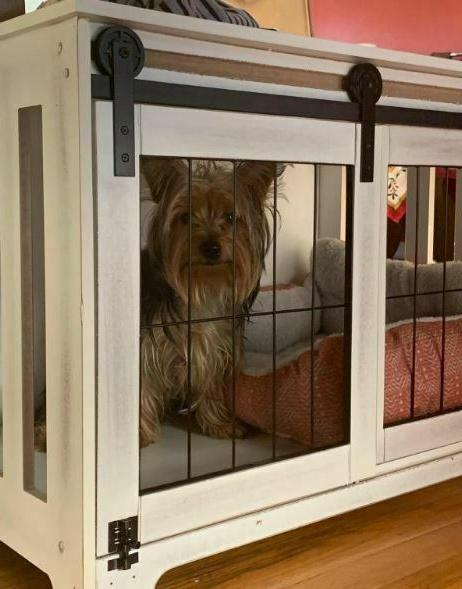 Farmhouse Crate Rustic Brown White Cage Barn Pet Bed