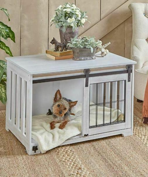 Farmhouse Dog Crate Rustic White Bed