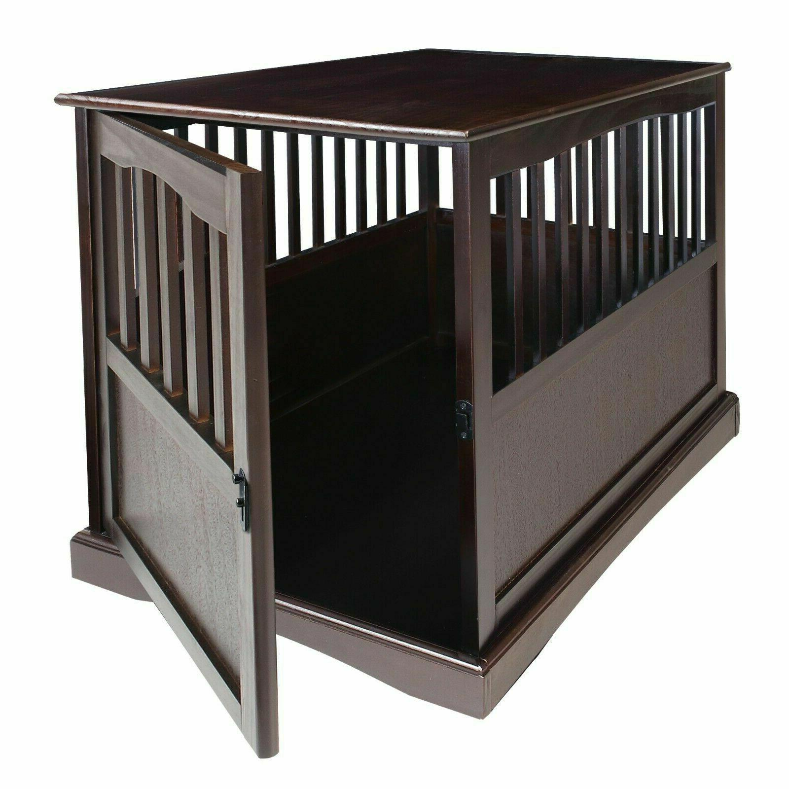 Indoor Wood Dog Crate End Table House Big Furniture