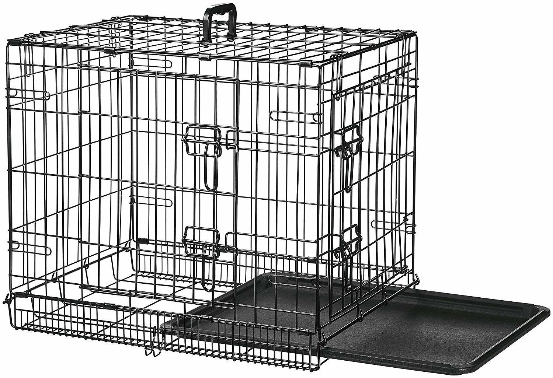 """Pet Crate 24"""" Double Door Metal AmazonBasics"""