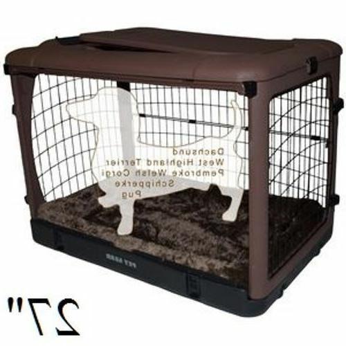 """Pet Steel Crates Other Door"""" w Bolster Pad & Storage M"""