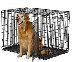 Large 2 Door Crate Cage Kennel with Divider & Tray for Pets,