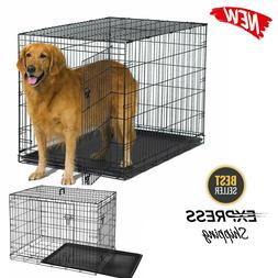 Large Dog Crate Kennel Pet Cage House Metal Playpen Tray L M
