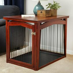 Large Wood Pet Crate Dog Playpen Gate End Table 2in1Furnitur