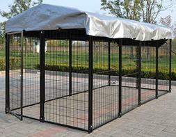 Magbean Heavy Duty Dog Kennel Welded Steel  4' W x 8' L x 4'
