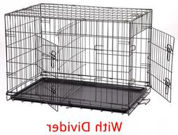 "NEW 48"" Extra Large With Center Divider Folding Pet Dog Cage"