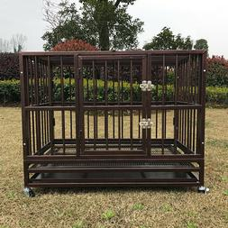 "36"" Heavy Duty Metal Dog Pet Crate Steel Cage Kennel w/ Cast"