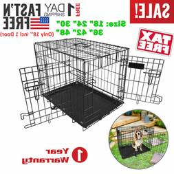 Pet Kennel Cat Dog Folding Crate Wire Metal Cage 2 Door 48""