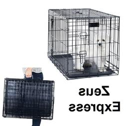 Portable Travel Dog Crate Folding Cat metal Cage 24-48 Inch