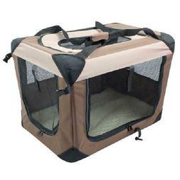 "Soft Dog Crate Coffee/Khaki Small 19""L X 14""W X 14""H Dog Tra"