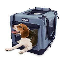 Soft Dog Crates Kennel for Pets, Jespet 3 Door Soft Sided Fo