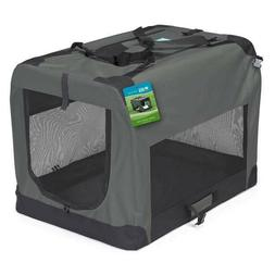 Soft Sided Dog Crates Charcoal Grey Collapsible Travel Mesh