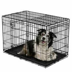 Vibrant Life Folding Dog Crate 42 Inch Double Door Training