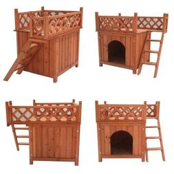 Wooden Dog Kennel With Side Steps Balcony Pet Lounger